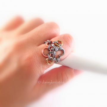 Paw Print Chainmaille Finger Ring in Mixed Metals