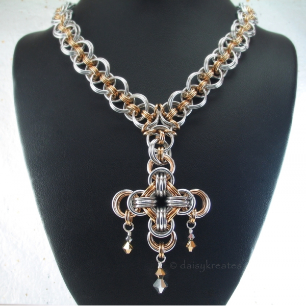 """Gehenghiz Cohen chainmaille necklace 18"""" long, silver gold tone"""