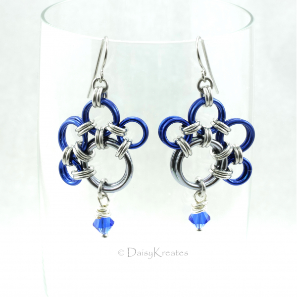 Blue Nose's PawPrints Earrings with Swarovski Crystal Bead Dangles