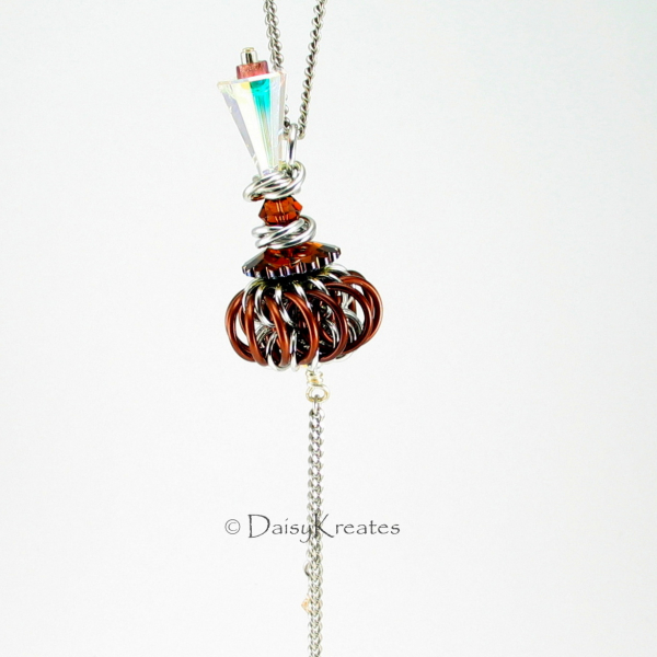 Genie Bottle Necklace with Brown Chainmaille Whirlybird Pendant