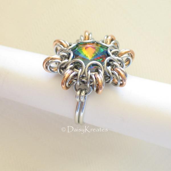 Byzantine Sun Finger Ring Featuring Swarovski Rivoli Stone in Mixed Metals