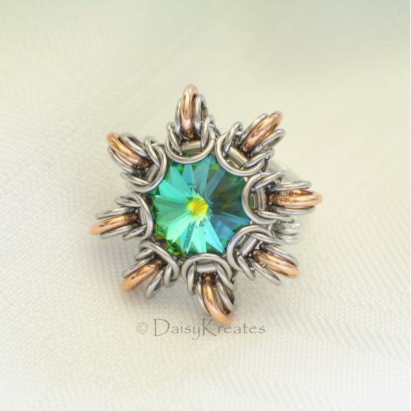 Sunburst design centering around 12mm Swarovski chaton