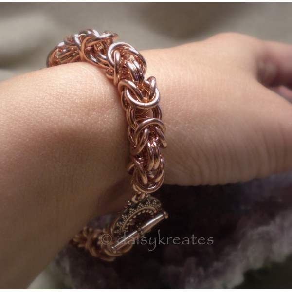 Chunky Copper Byzantine Chainmaille Bracelet