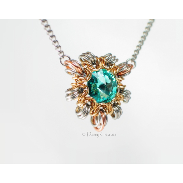 Byzantine Sun necklace with smaller pendant in Swarovski turquoise blue