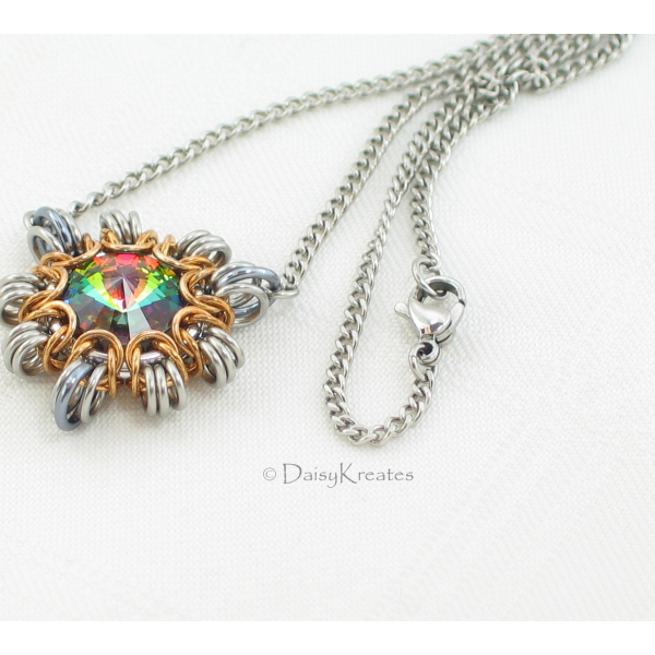 """Byzantine Sun mini pendant on smooth 17"""" stainless steel curb chain  and lobster"""