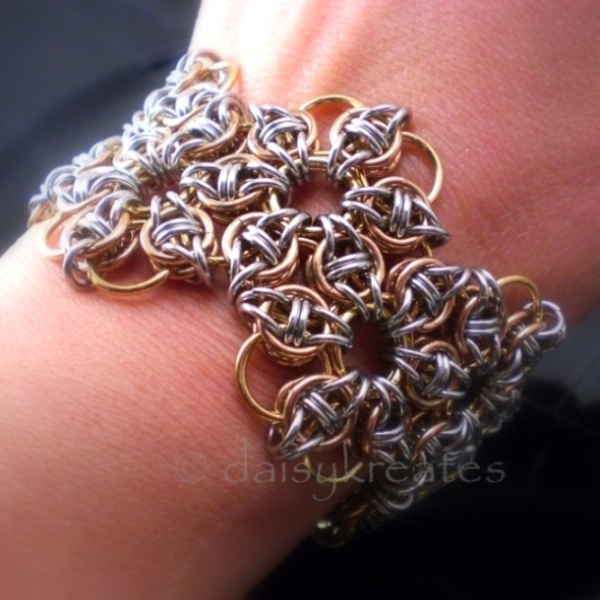 "Celtic Rose Hex Sheet Bracelet is ~1.5"" wide, 7"" long, weighs under 2 oz."