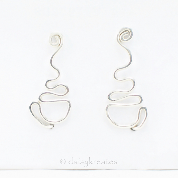 Pair of sterling silver Coffee Cup ear climber, opposite handle placements
