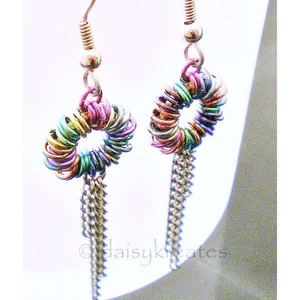 Multi-Color Anodized Niobium Coiled Rainbow Earrings