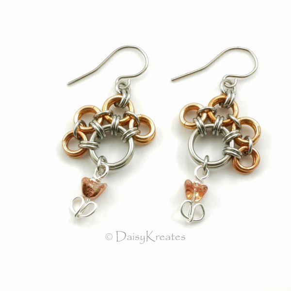 Mix metals PawPrints earrings in bronze and steel with tulip beads