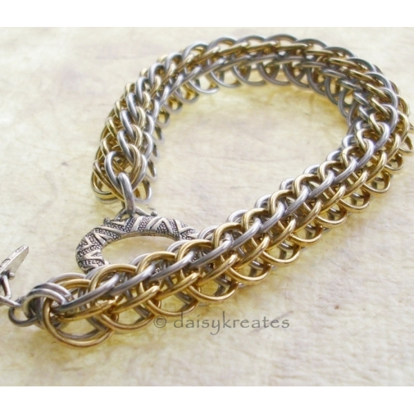 Classic two-tone Layered/Double Half Persian chainmaille bracelet