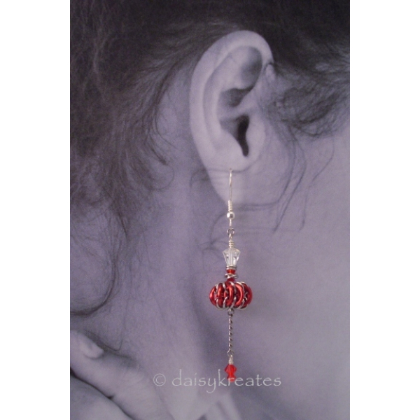 Genie Bottles Earrings with Red Chainmaille Whirlybirds