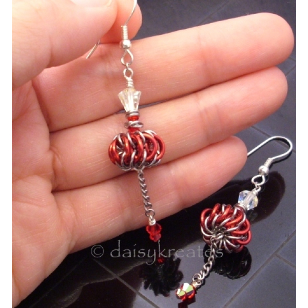 Genie Bottles Earrings with Red Chainmaille Whirlybirds with vintage Swarovski c