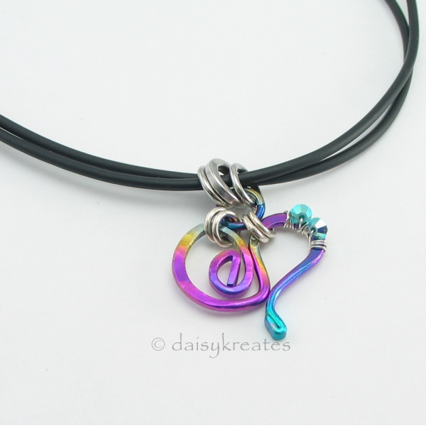 Multi-Color Forged Heart Pendant on Double-Strand Rubber Tube Necklace