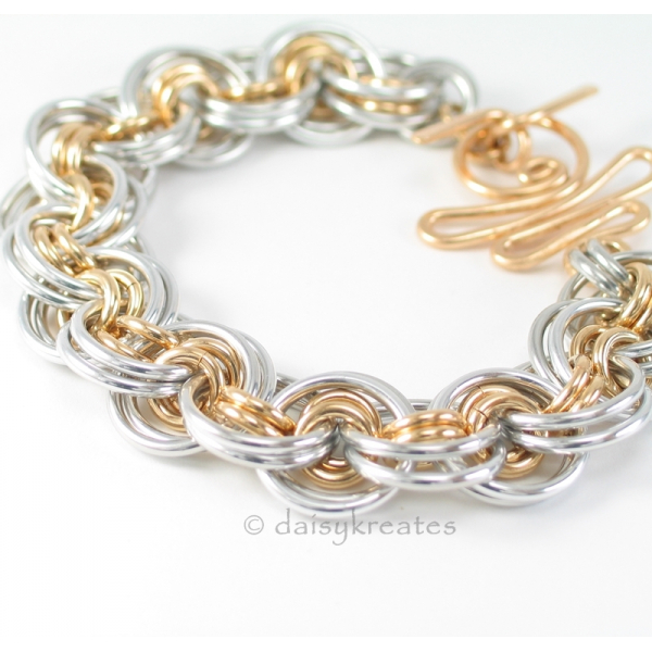 Chainmaille Gehenghiz Cohen weave in mixed metals