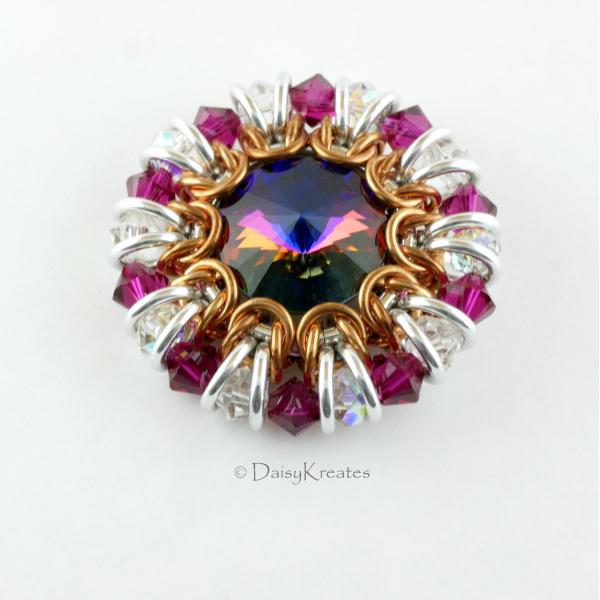 Ruby Red Sunburst medallion pin with Swarovski crystals