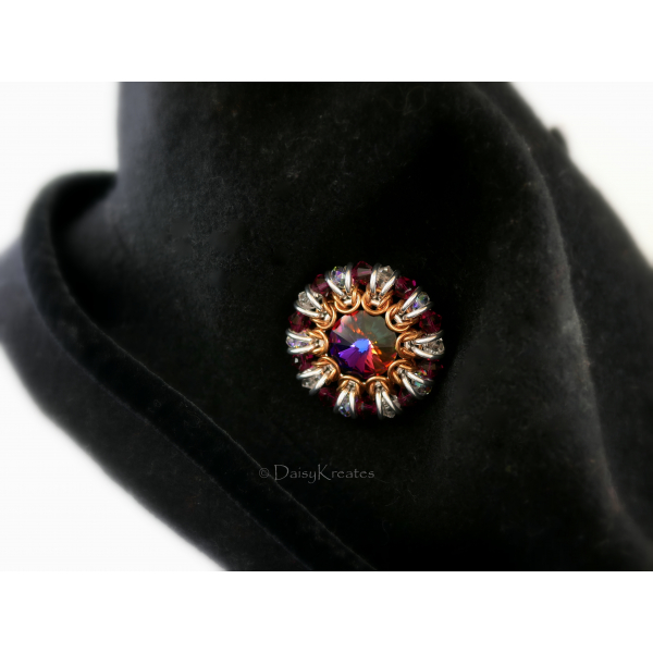 Ruby Red Sunburst hat pin with Swarovski crystals