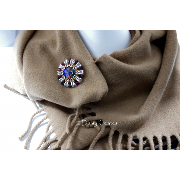 Helios Sunburst scarf pin with Swarovski Volcano crystals