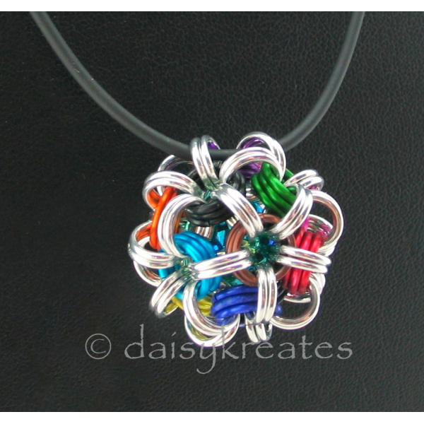 "Japanese Dodecahedron Necklace on 24"" rubber cord"