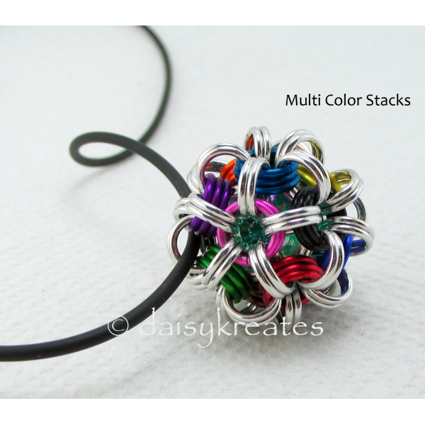 Japanese Dodecahedron Pendant in Multi Color Stacks