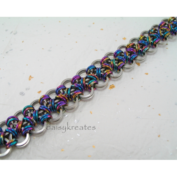 Japanese Lace Bracelet in a rainbow of brilliant colors and shiny stainless stee