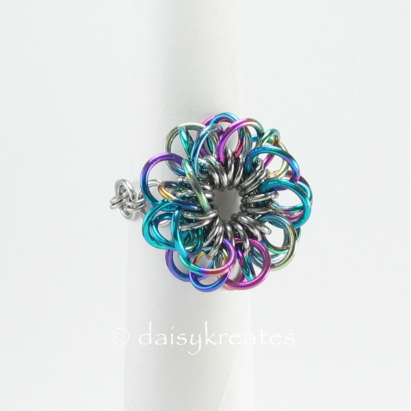 Chainmaille shank fits ring size 7 to 5.25