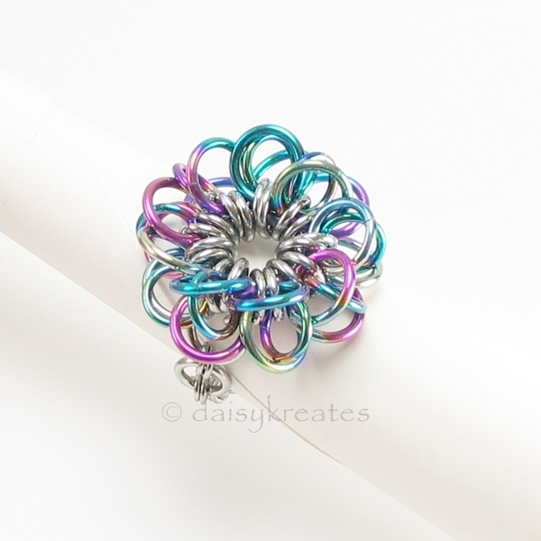 Forget-Me-Not Flower Finger Ring in Rainbow Anodized Niobium, Stainless Steel