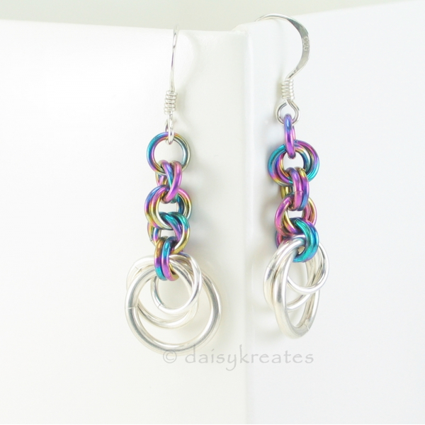 Tea Rose chainmaille earrings show off colors and textures from all sides