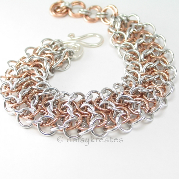 Elf Sheet Chainmaille Bracelet in Bronze and Bright Aluminum