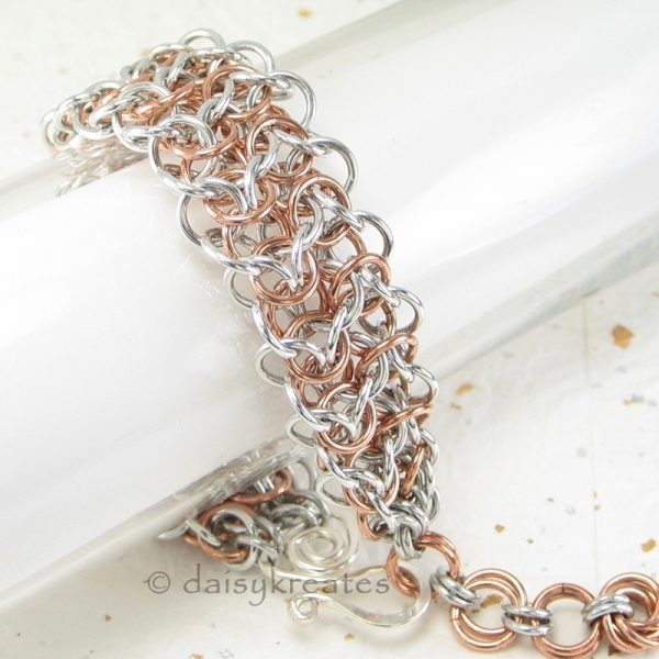 Elf Sheet chainmaille pattern lends soft lacy texture to the bracelet