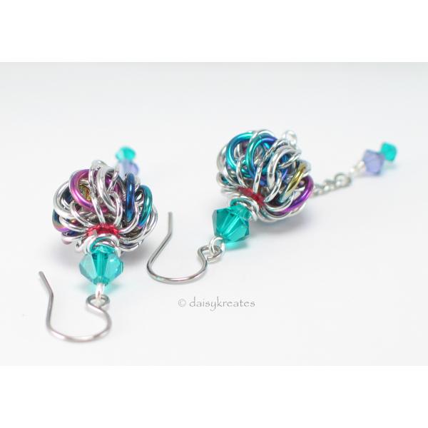 Genie Bottle earrings in anodized niobium, stainless steel, Swarovski crystals