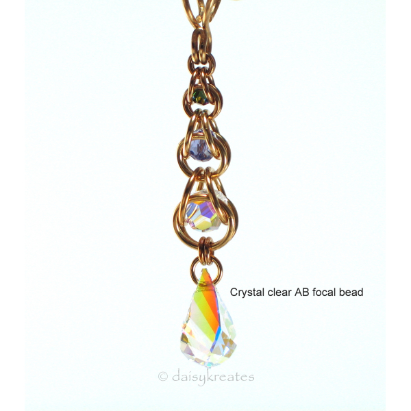 Golden Harvest Y necklace with Crystal clear AB focal drop bead