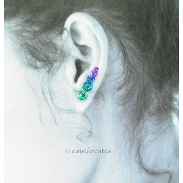 Multicolor Koru Spiral Ear Climber in Anodized Pure Niobium