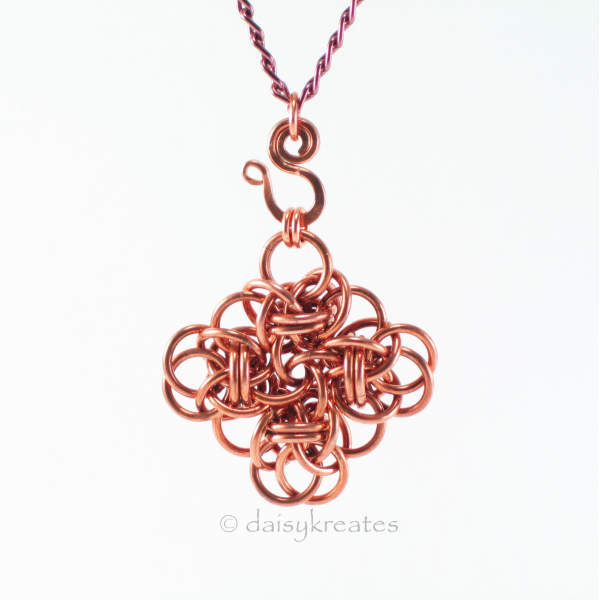 Copper Persephone Square Pendant and S-hook bail