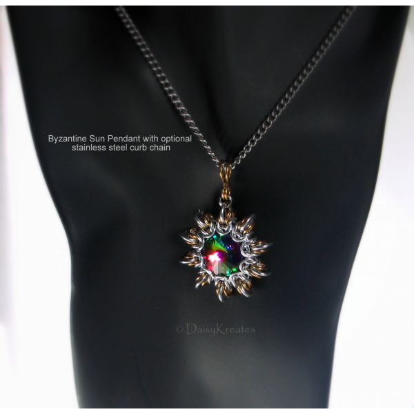 Byzantine Sun pendant in steampunk style with stainless steel curb chain