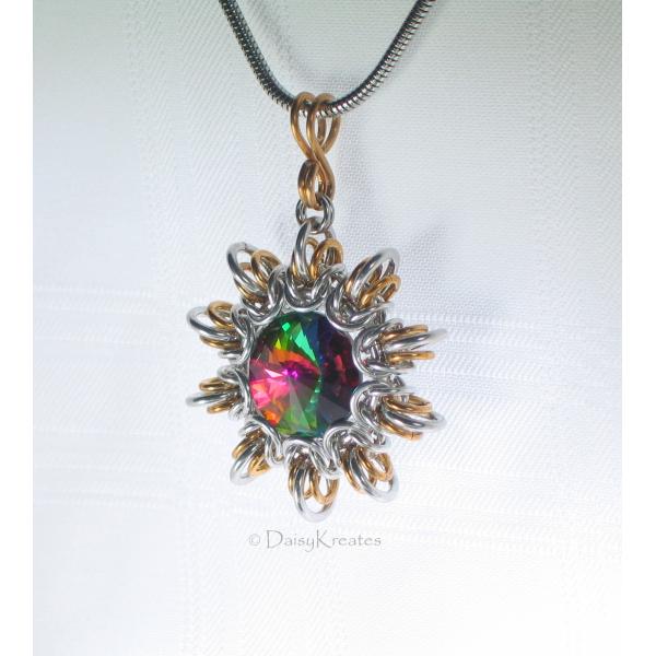 Byzantine Sun pendant features large Swarovski point-back chaton