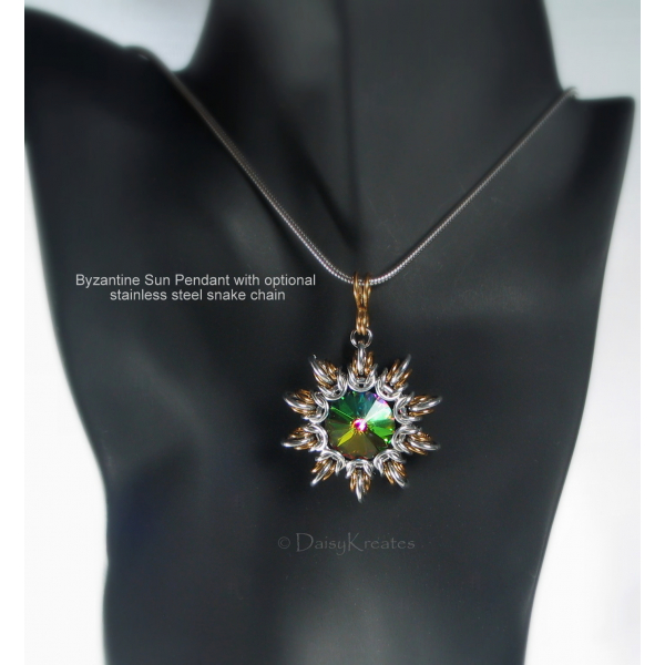 Byzantine Sun pendant pairs well with stainless steel snake chain