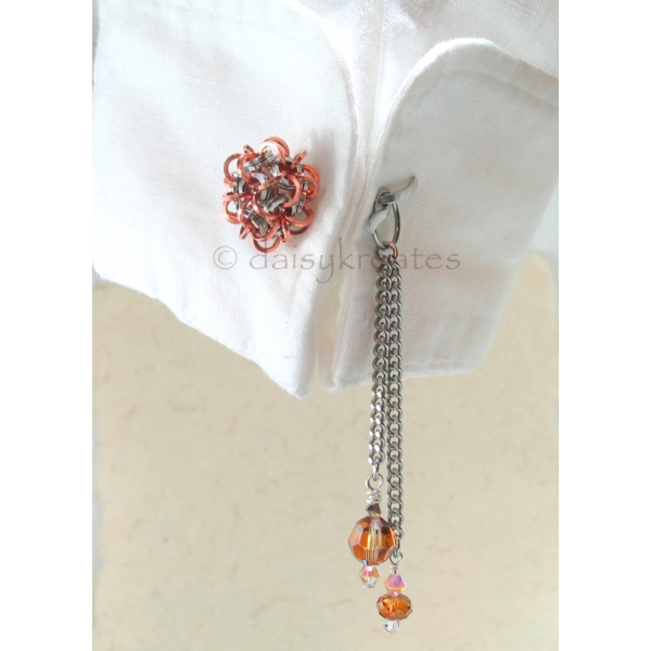 Chainmaille Temari Cuff Links in Stainless Steel with Copper Accent
