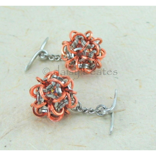 The chainmaille sphere cuff links are equally suitable for formal wear