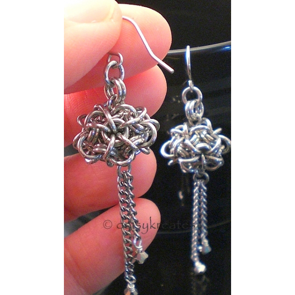 Japanese Dodecahedron Earrings in Silver Monochrome