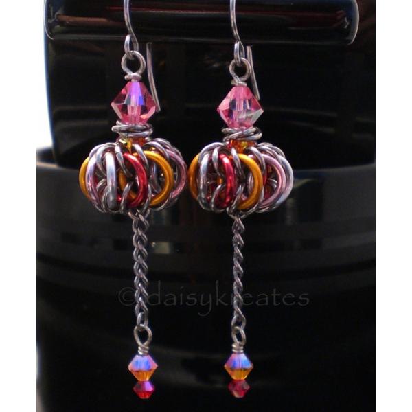 Genie Bottle Earrings in Golden Pink Orange