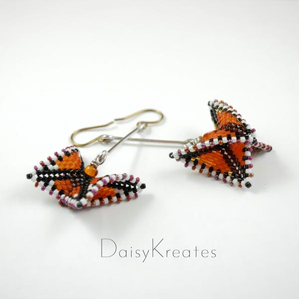 Beaded Monarch butterfly earrings in 3D geometric style