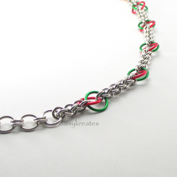 Little red and green mobius flowers symbolize colorul Poinsettia for holiday joy