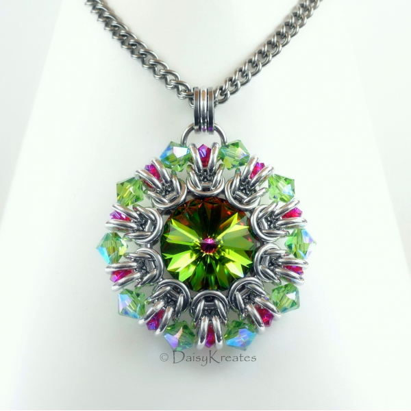 Sunburst medallion pendant with Swarovski Medium Vitrial and ruby red crystals