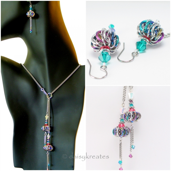 Twin Genie Bottle Lariat and Earrings together make for the most magical set