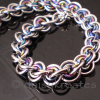 3x3 Wave Bracelet in stainless steel and rainbow anodized niobium