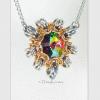 Byzantine Sun necklace with smaller pendant in Swarovski medium vitrail green