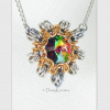 Byzantine Sun necklace with smaller pendant in Swarovski medium vitrail green