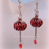 Red Genie Bottles Earrings with Chainmaille Whirlybird