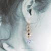 """Multicolor Golden Harvest Earrings is 2 1/4"""" long, 3/8"""" wide"""