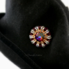 Ruby Red Sunburst hat pin with Swarovski crystals